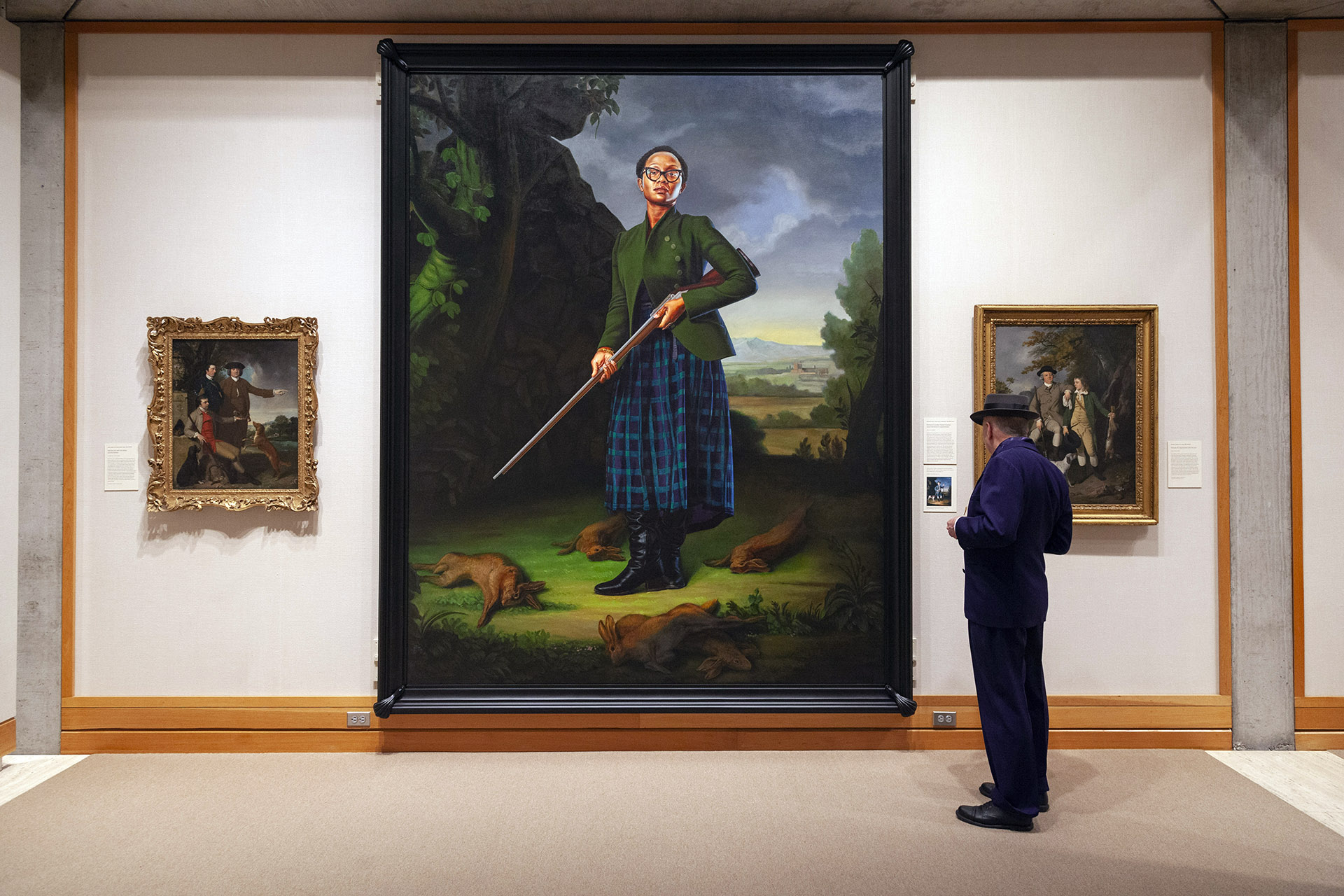 "Kehinde Wiley's ""Portrait of Lynette Yiadom-Boakye, Jacob Morland of Capplethwaite"" installed in the fourth floor galleries, Yale Center for British Art, photo by Harold Shapiro"