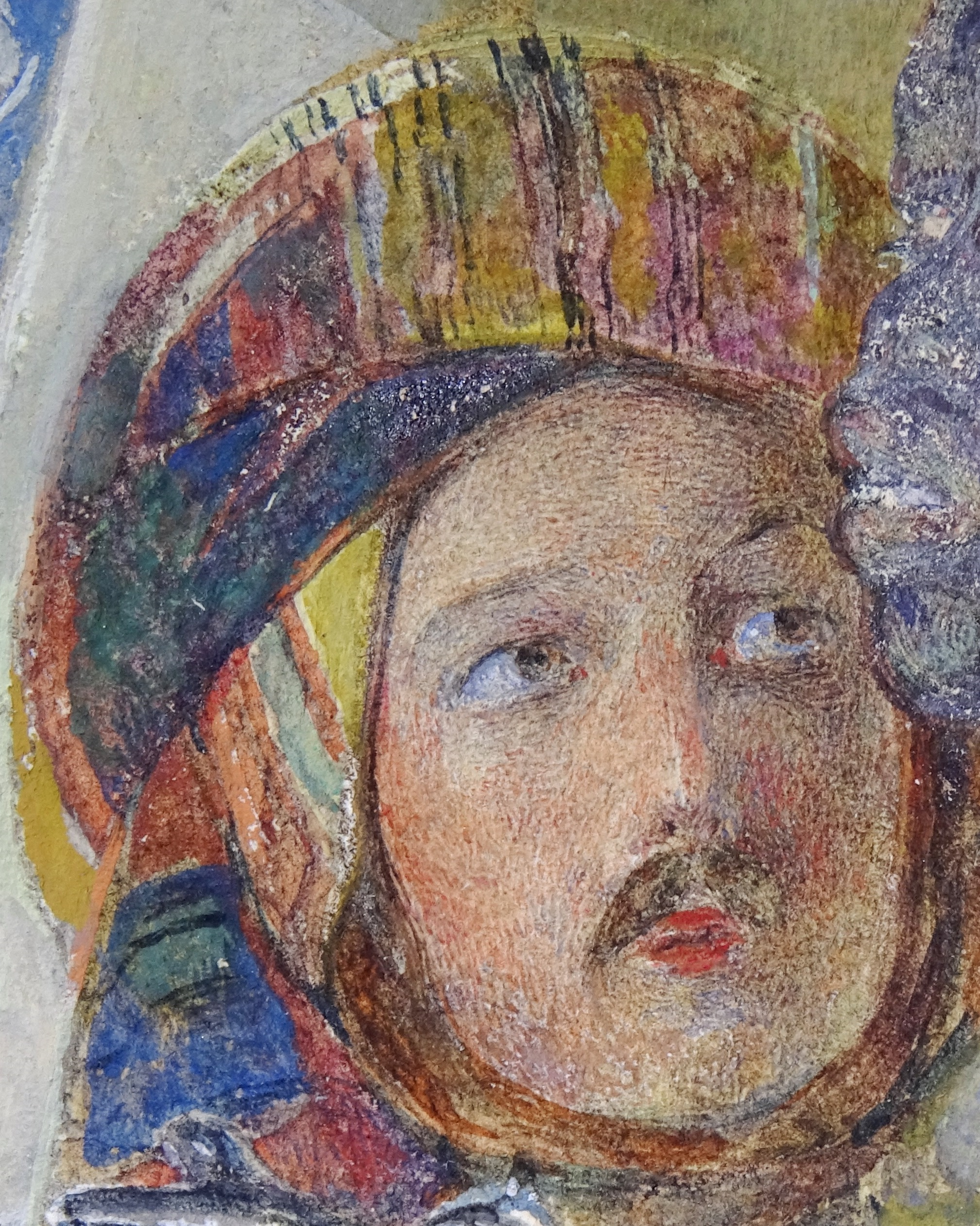Small pinpoint losses of watercolor seen in dark bands of the hat and in the partial face on the right, detail of John Frederick Lewis's A Frank Encampment in the Desert of Mount Sinai, photo by Richard Caspole