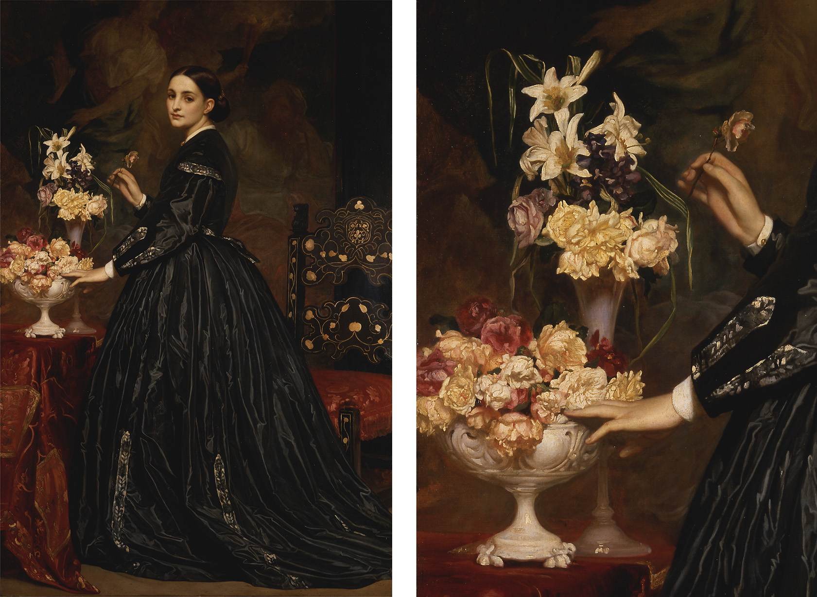 (Left) Frederic Leighton, Mrs. James Guthrie, 1865, oil on canvas, Yale Center for British Art, Paul Mellon Collection; (Right) Frederic Leighton, Mrs. James Guthrie (detail), 1865, oil on canvas, Yale Center for British Art, Paul Mellon Collection