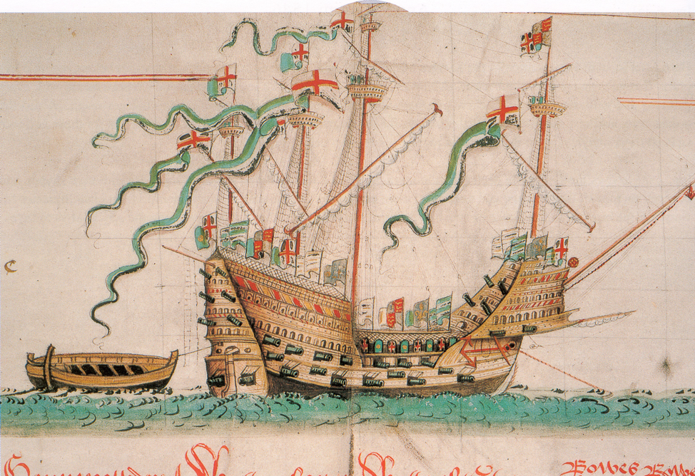Illustration of thecarrackMary Rose from The Anthony Roll, ca. 1546, watercolor on vellum, British Library, photo by Gerry Bye