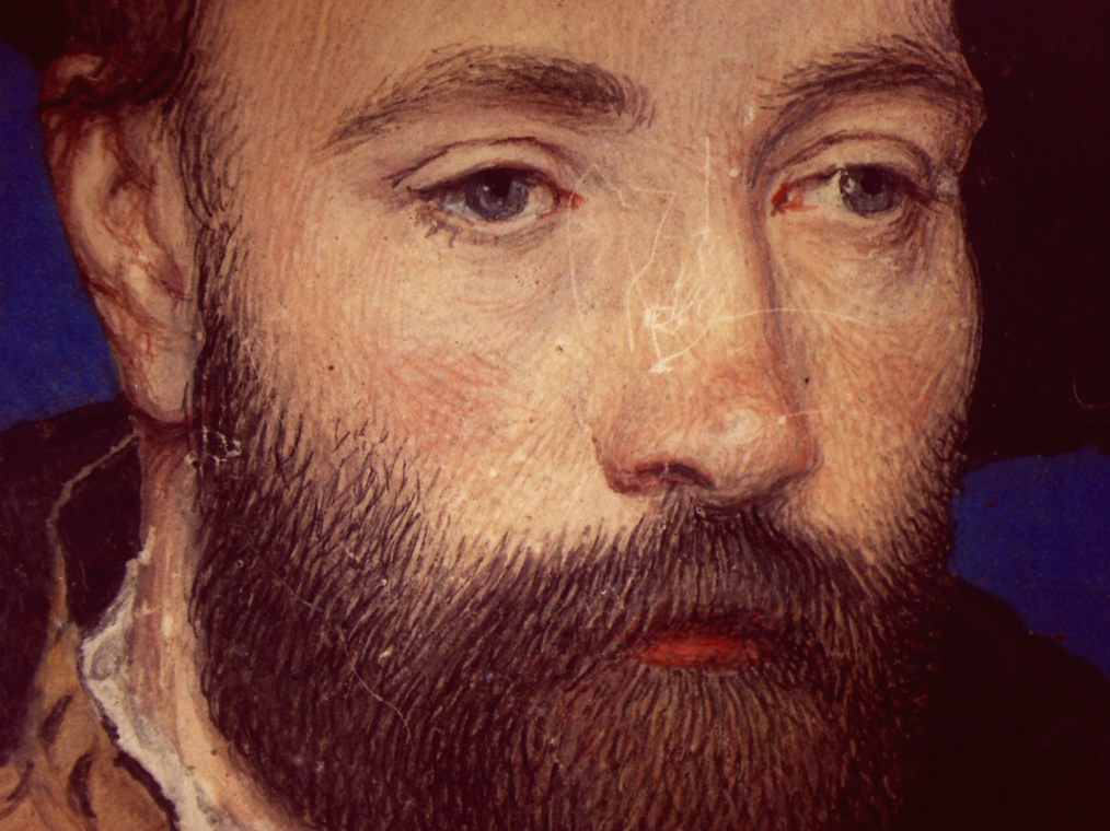 Attributed to Hans Holbein the Younger, Portrait of a man, probably Sir George Carew (ca.1504–1545) (detail), ca. 1540, gouache and gold on thin card, Yale Center for British Art, Paul Mellon Collection
