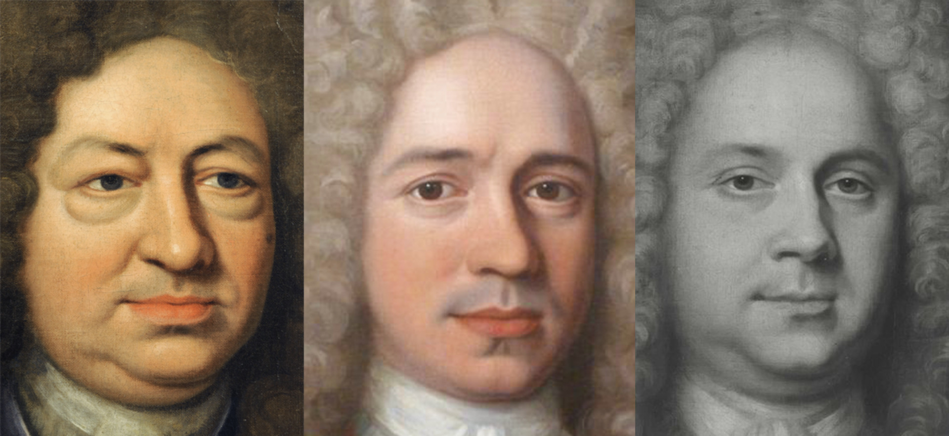 Composite image of details from B1970.1 and details of two signed and dated works by John Verelst. From left to right: Elihu Yale, photo by Jessica David; John Verelst, Unknown Man (detail), signed and dated 1717, photo by Roy Precious; John Verelst, Unknown Man, signed and dated 1719, photo courtesy of the Frick Collection Photo Archive