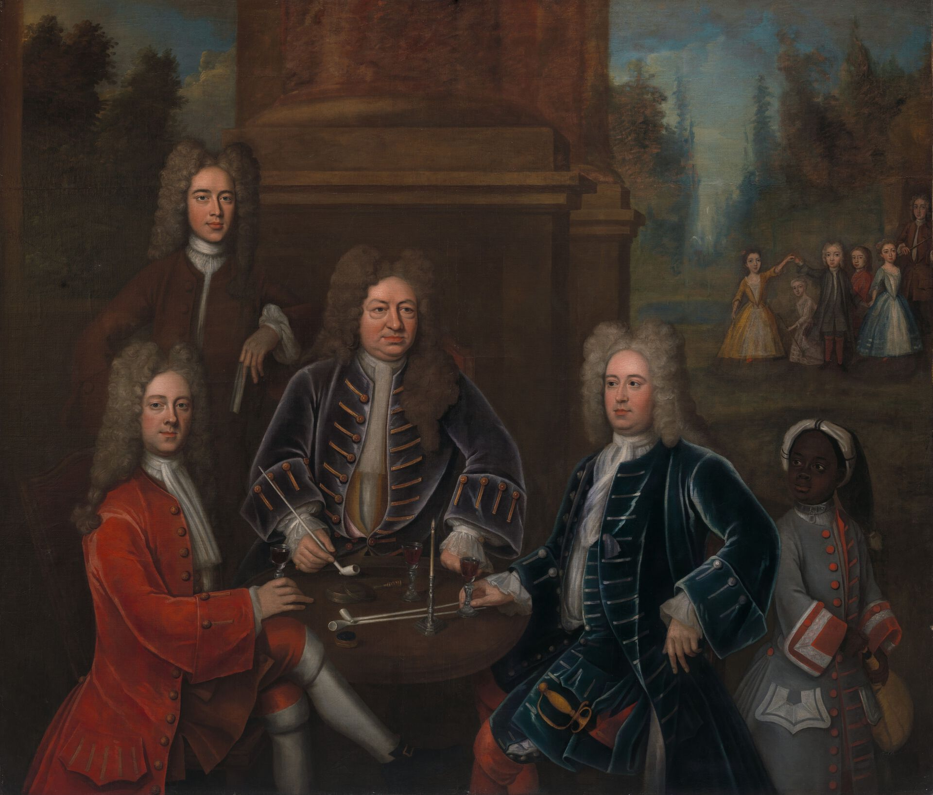 Attributed to John Verelst, The family of Elihu Yale and an Enslaved Child, ca. 1719, oil on canvas, Yale Center for British Art, Gift of Andrew Cavendish, eleventh Duke of Devonshire, B1970.1