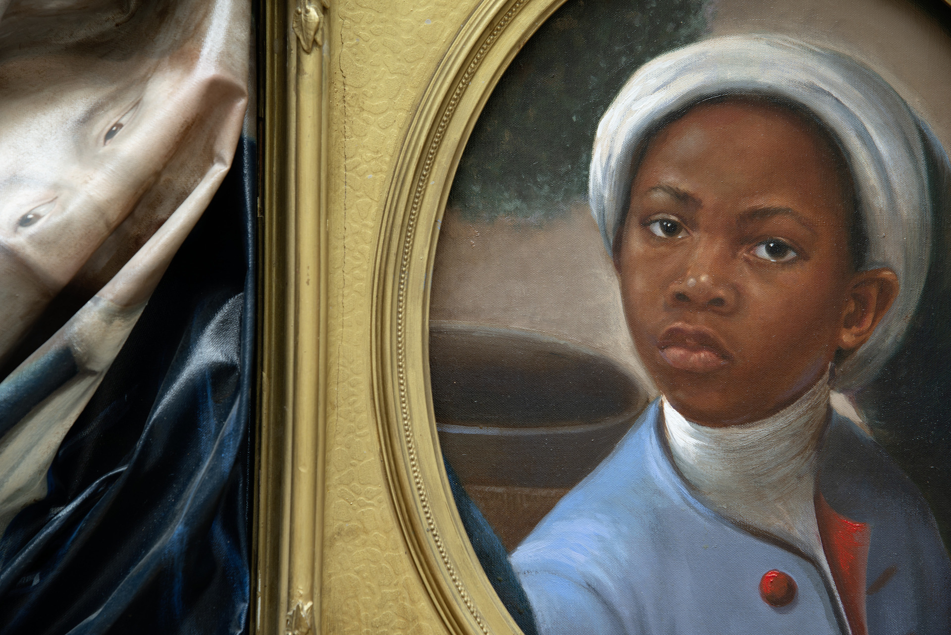 Titus Kaphar, Enough About You (detail), 2016, oil on canvas with an antique frame, on loan from the Collection of Arthur Lewis and Hau Nguyen, Courtesy of the artist, photo by Richard Caspole