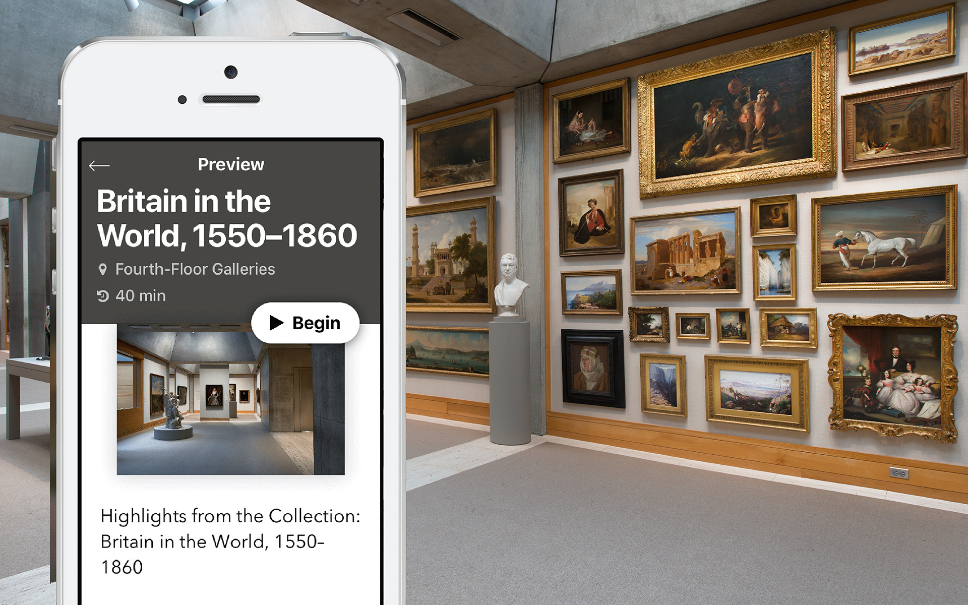 Cuseum app on an iPhone, Long Gallery, Yale Center for British Art