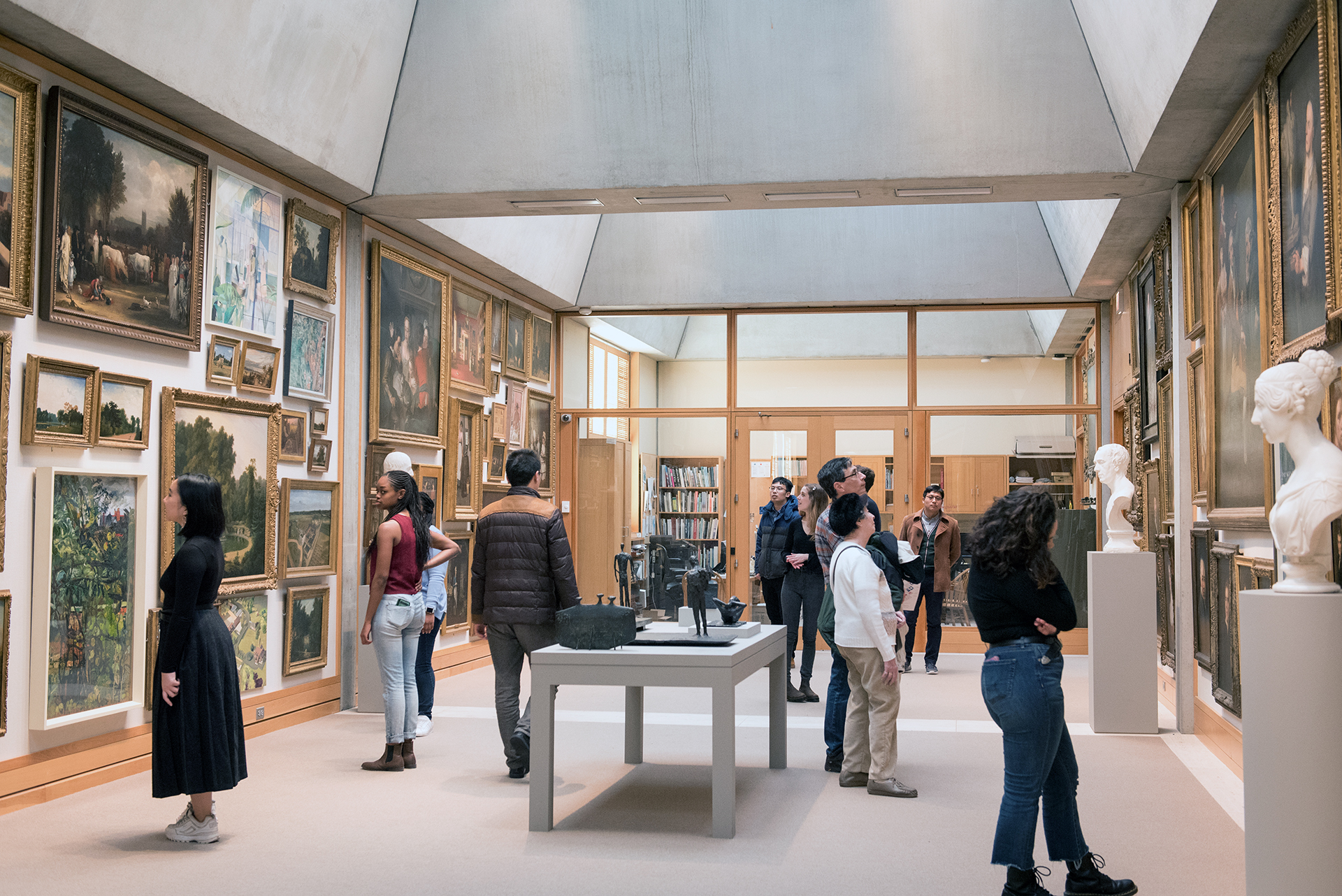 Visitors in the Long Gallery, Yale Center for British Art, photo by Stephanie Anestis