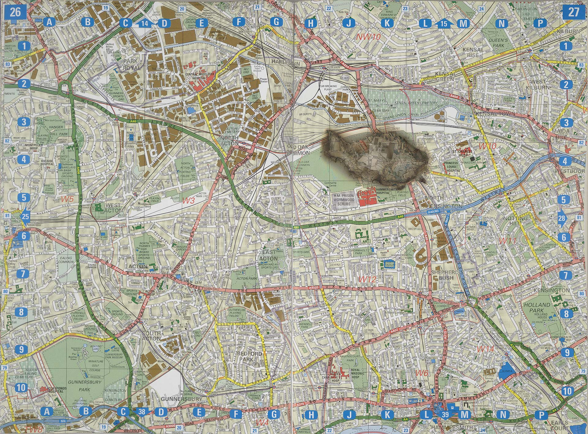 Cornelia Parker, Meteorite Lands on Wormwood Scrubs, 1998, maple boxed framed map of London revealing burn mark left by a meteorite on paper, Yale Center for British Art, Friends of British Art Fund, © Cornelia Parker, courtesy the artist and Frith Street Gallery, London