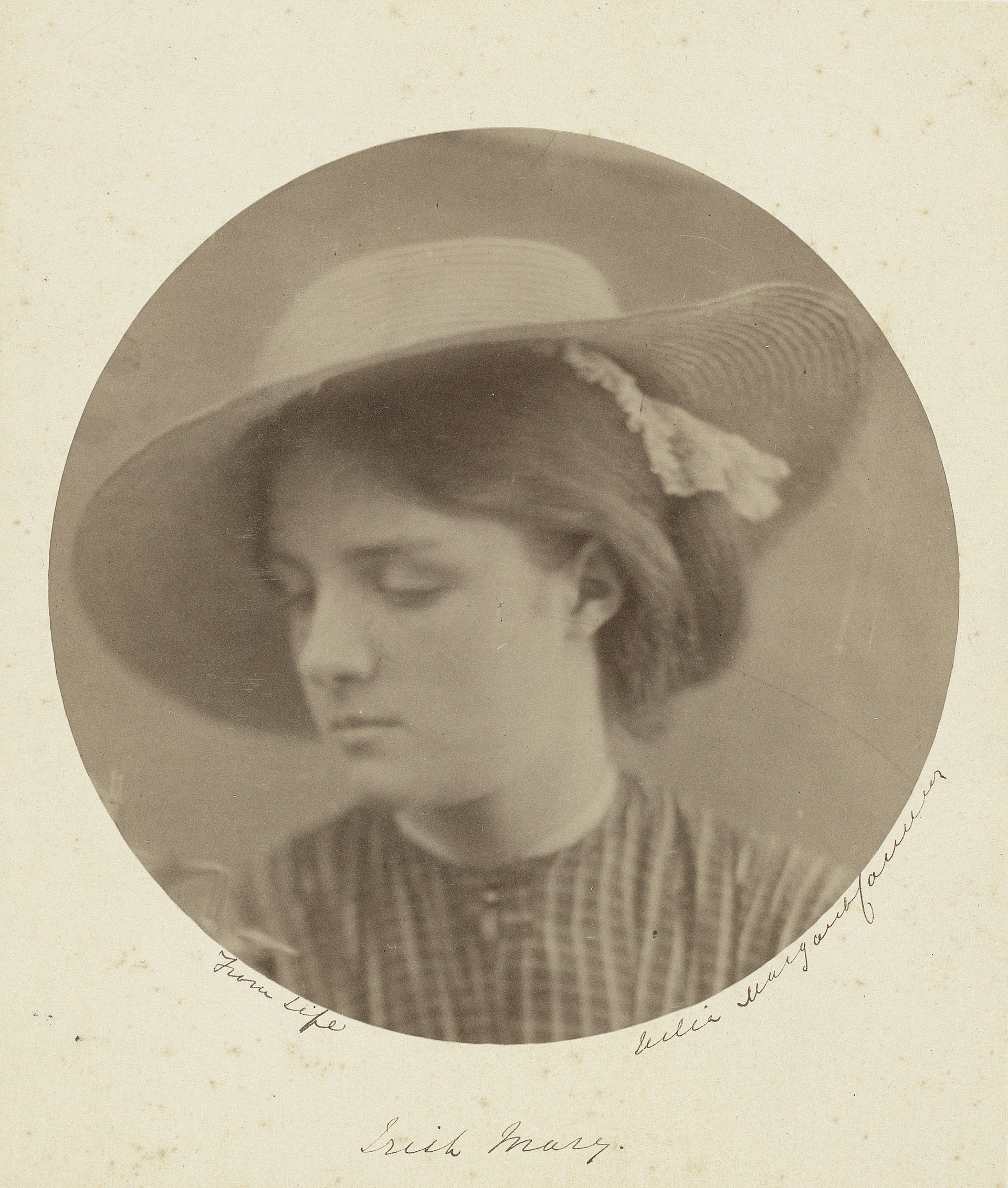 Julia Margaret Cameron, Irish Mary, 1866, albumen print on paper mounted to board, Gift of Mr. and Mrs. Melville Chapin, Yale Center for British Art, transfer from the Yale University Art Gallery