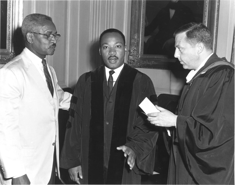Courtland Seymour Wilson (left), Dr. Martin Luther King (center), Howard Sayer Weaver (right), © Yale University