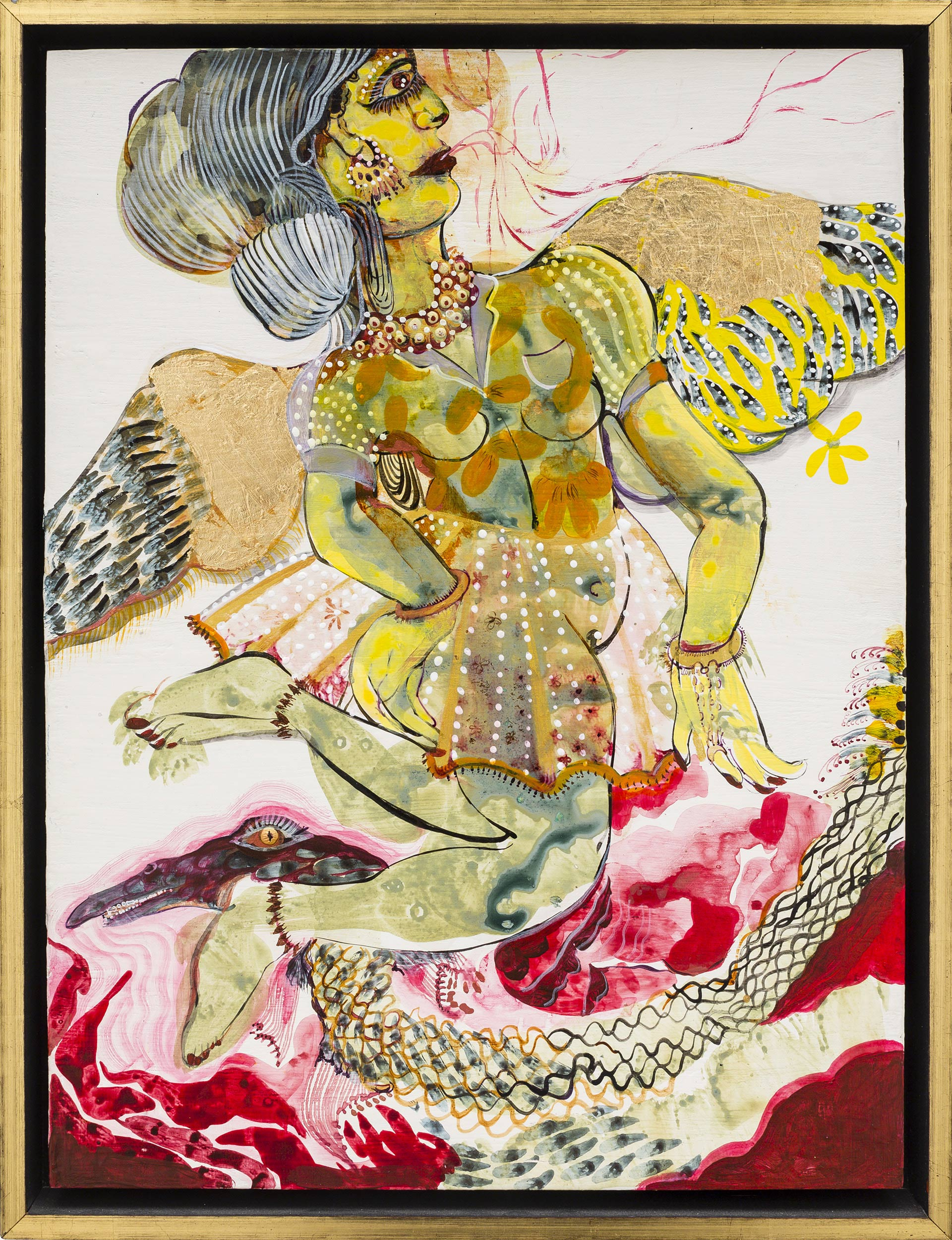 Rina Banerjee, Upon first Myth and empirical observation the hero, her angel leaps in cry, opens the moon to urge on a rain that may cleanse all the sweat of her jealous man, 2013–20, acrylic, ink, and gold leaf on panel, Collection of the Artist, © Rina Banerjee