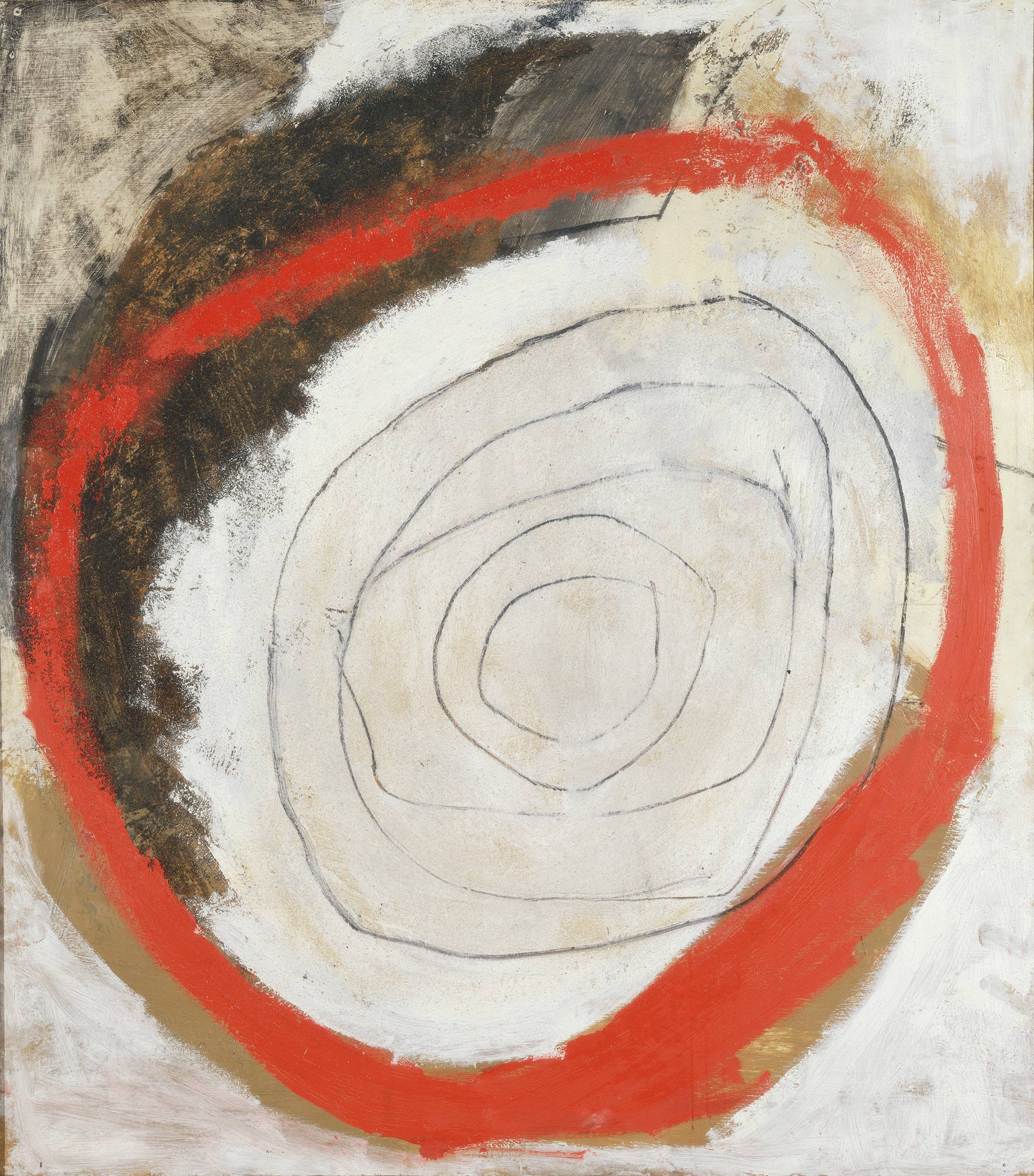 Sandra Blow, Red Circle, 1960, mixed media on board, Yale Center for British Art, Gift of Professor Carl Djerassi in homage to Diane Wood Middlebrook, Yale PhD, 1968, © The Sandra Blow Estate Partnership. All Rights Reserved, DACS, London / ARS, New York