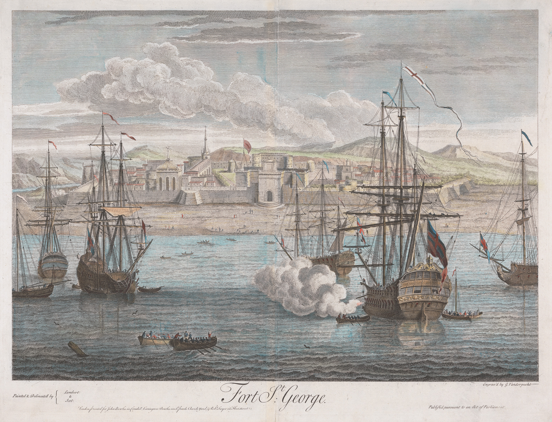 Gerard van der Gucht, Fort St. George, 1736, line engraving with hand coloring in watercolor on paper, Yale Center for British Art, Paul Mellon Collection