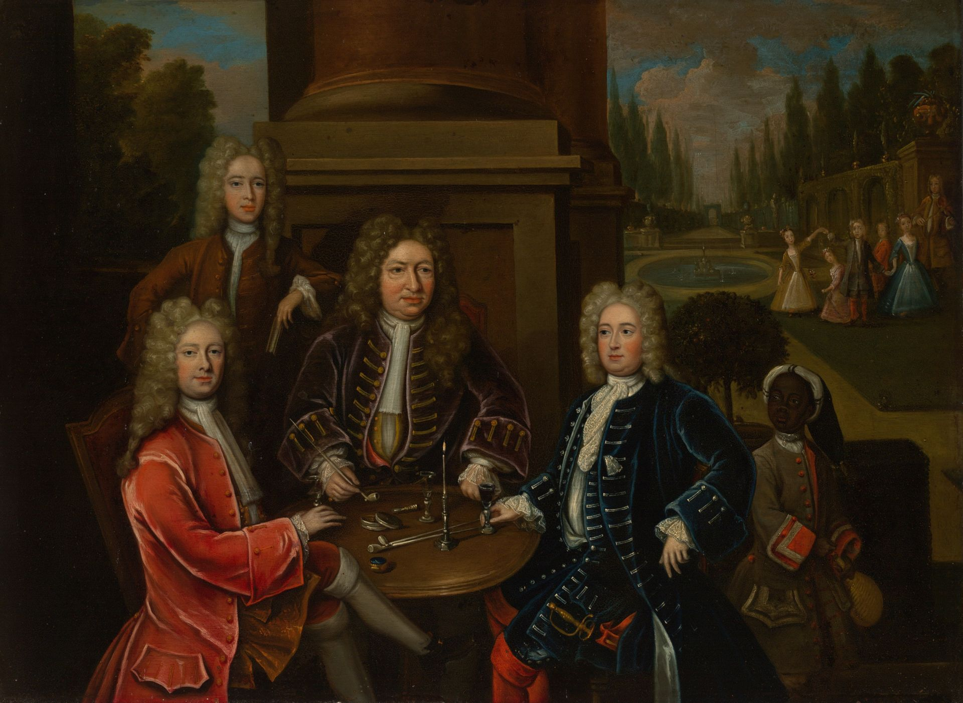Unknown artist, Elihu Yale seated at table with the Second Duke of Devonshire and Lord James Cavendish, ca. 1708, oil on copper, Transfer from the Yale University Library, Gift of Mrs. Arthur W. Butler