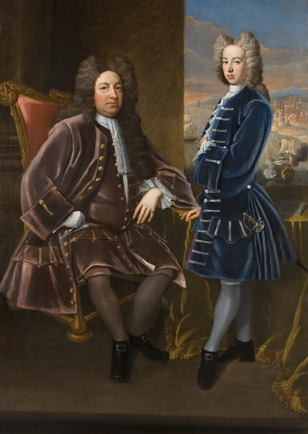 Attributed to James Worsdale, Elihu Yale with a Young man, 1714, oil on canvas, Elizabethan Club, Yale University