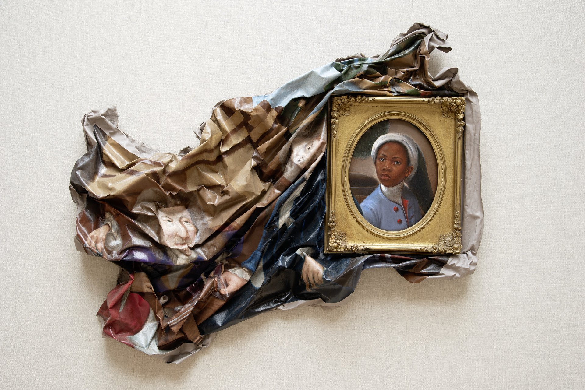 Titus Kaphar's Enough About You (2016) installed at the Yale Center for British Art, October 2020, on loan from the Collection of Arthur Lewis and Hau Nguyen, Courtesy of the artist, photo by Richard Caspole