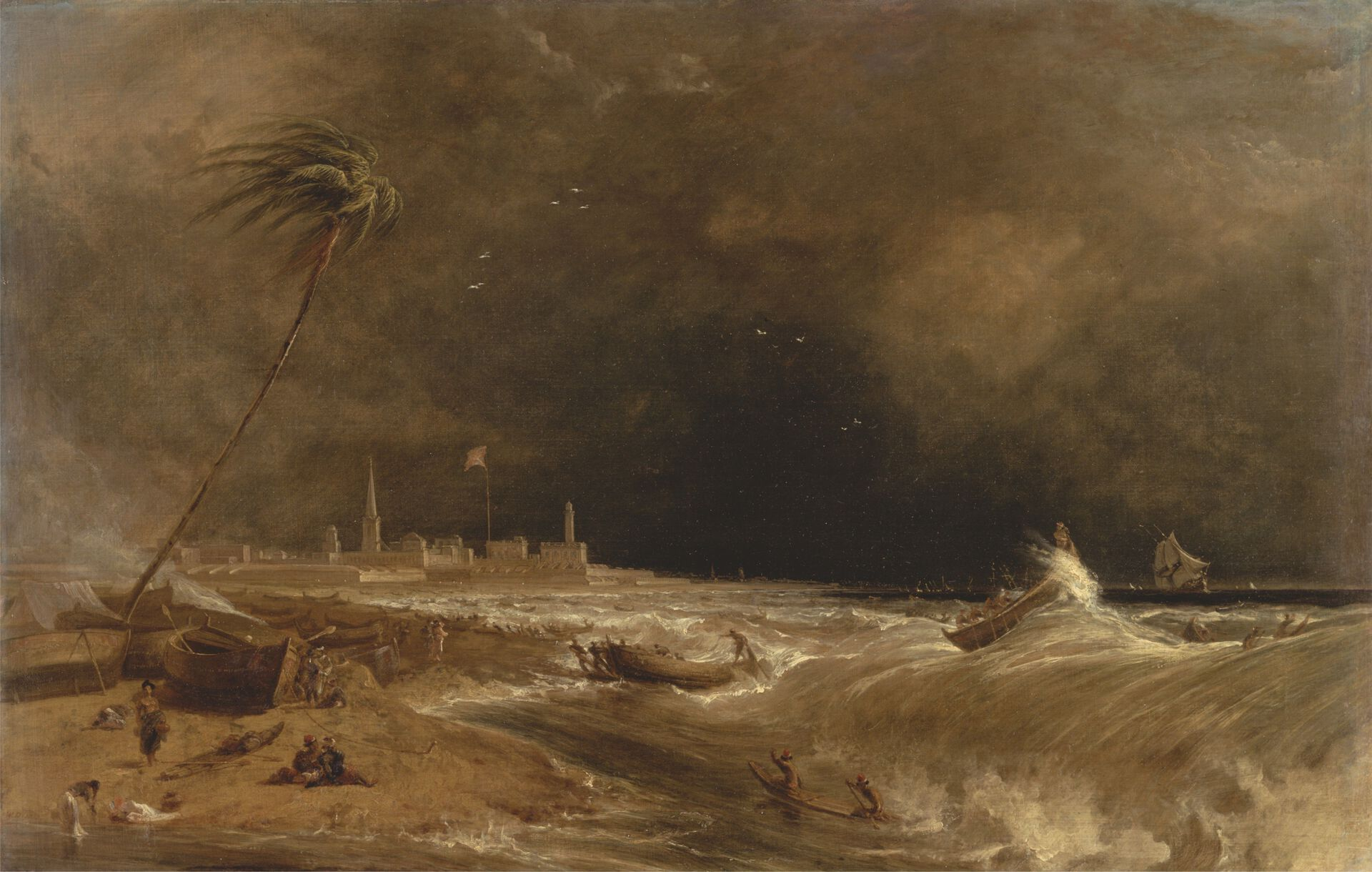 William Daniell, Madras, or Fort St. George, in the Bay of Bengal—A Squall Passing Off, 1833, oil on canvas, Yale Center for British Art, Paul Mellon Collection