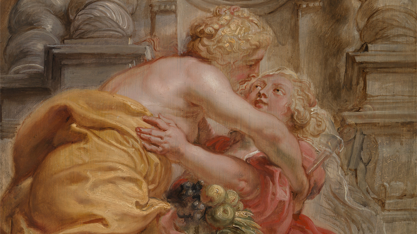 Sir Peter Paul Rubens, Peace Embracing Plenty (detail), between 1633 and 1634, oil on panel, Yale Center for British Art, Paul Mellon Collection
