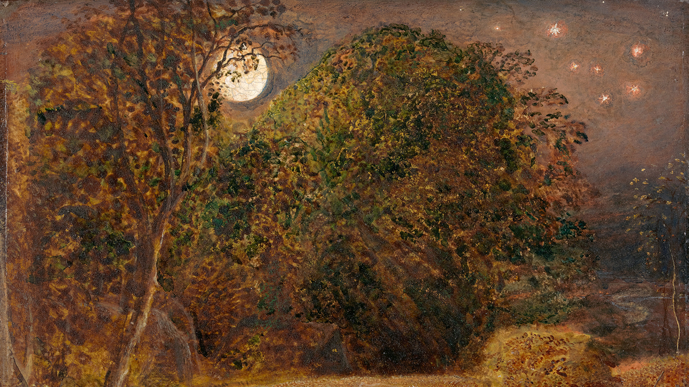 Samuel Palmer, The Harvest Moon (detail), ca. 1833, oil on paper, laid on panel, Yale Center for British Art, Paul Mellon Collection