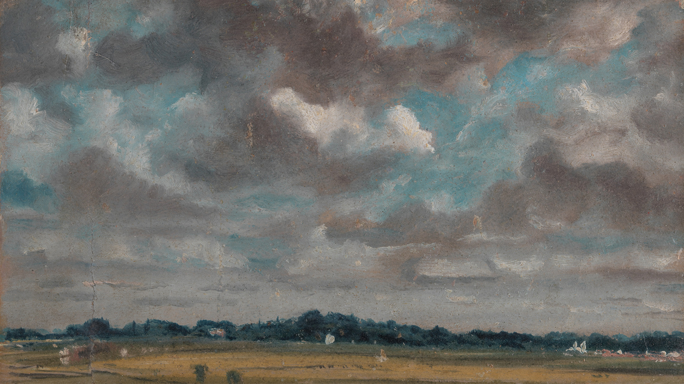 John Constable, Extensive Landscape with Grey Clouds (detail), ca. 1821, oil on paper on panel, Yale Center for British Art, Paul Mellon Collection