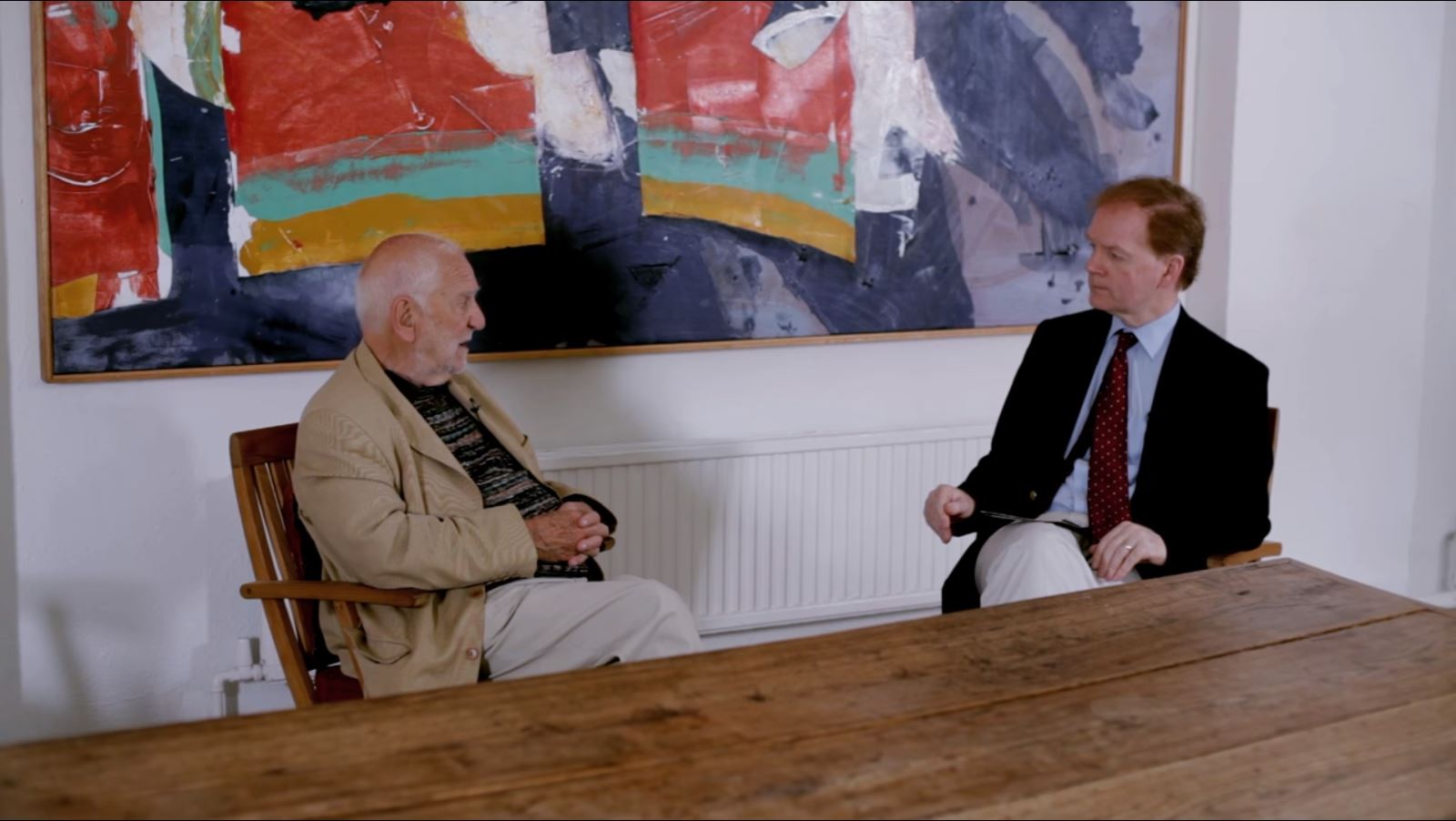 The artist Sir Anthony Caro (1924–2013) converses with Julius Bryant, Keeper of Word and Image, Victoria and Albert Museum, London