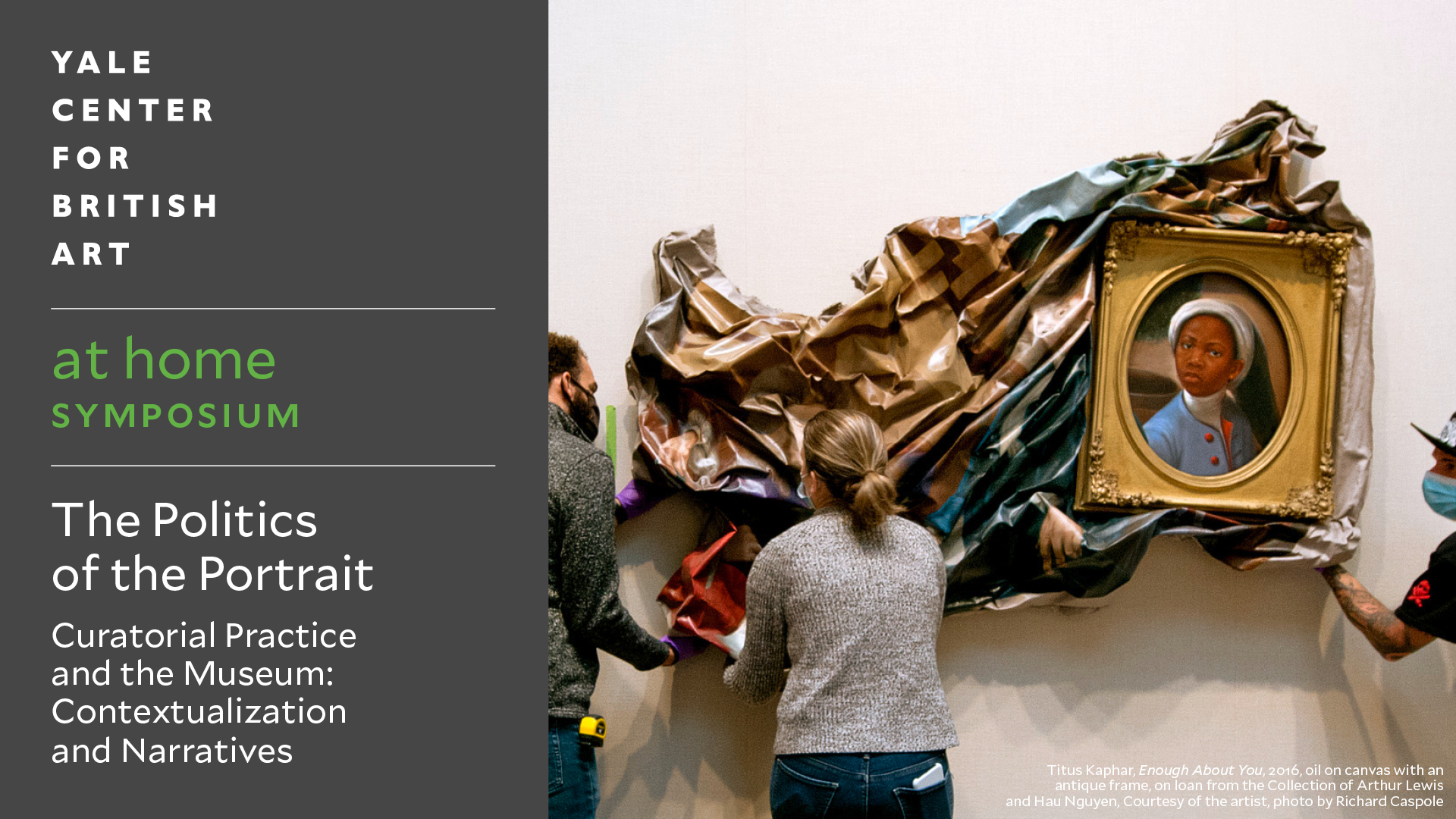 Installation of Titus Kaphar's Enough About You (2016) at the Yale Center for British Art, October 2020, on loan from the Collection of Arthur Lewis and Hau Nguyen, Courtesy of the artist, photo by Richard Caspole