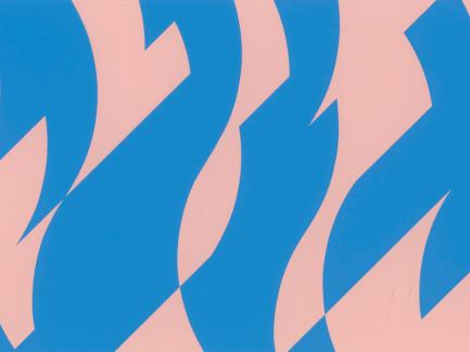 Print made by Bridget Riley, Blue and Pink (detail), 2001, screen print on paper, Yale Center for British Art, Gift of John Elderfield and Jeanne Collins, © Bridget Riley 2020. All rights reserved