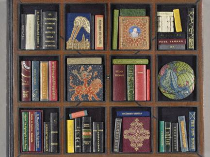 George Kirkpatrick, designer and binder of The Neale M. Albert Collection of Miniature Designer Bindings; A Catalog of an Exhibition Held at the Grolier Club, September 13–November 4, 2006, by Neale M. Albert (New York: Grolier Club, 2006 (detail), bound in 2008, leather binding with leather onlays and gold tooling, Collection of Margaret and Neale Albert, Yale JD 1961, photo by Richard Caspole
