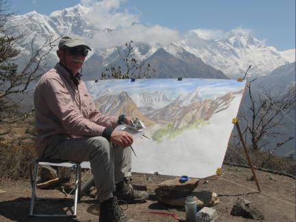 Tony Foster painting Everest from above Syangboche, Nepal, 2006, photograph © Kurt Ohms, courtesy Foster Art & Wilderness Foundation