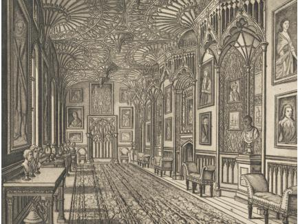 Joseph Constantine Stadler, The Gallery at Strawberry Hill, no date, aquatint on paper, Yale Center for British Art, Paul Mellon Collection