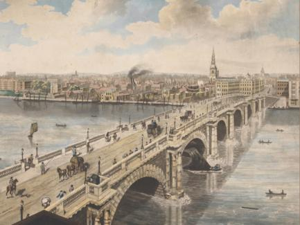 Henry Aston Barker and Frederick Birnie, after Robert Barker, one of six plates from his Panoramic View of London, 1792–1793, hand-colored aquatint, Yale Center for British Art, Paul Mellon Collection