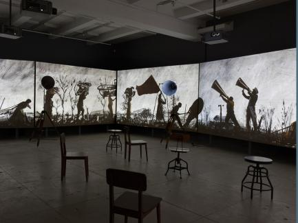 William Kentridge, More Sweetly Play the Dance, 2015, eight-channel video installation with four megaphones, 15 minutes, photograph © William Kentridge, courtesy of the artist and Marian Goodman Gallery, New York, photograph by Cathy Carver