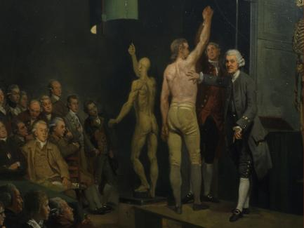 Johan Zoffany, William Hunter Lecturing, 1770–72, oil on canvas, Royal College of Physicians, London