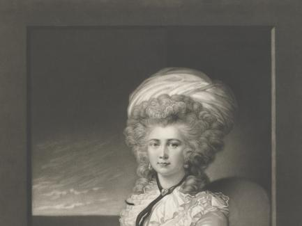 Valentine Green, after Maria Hadfield Cosway, Mrs. Cosway (detail), 1787, mezzotint, Yale Center for British Art, Paul Mellon Fund
