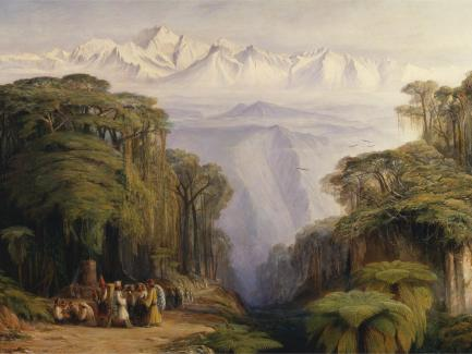 Edward Lear, Kangchenjunga from Darjeeling (detail), 1879, oil on canvas, Yale Center for British Art, Gift of Donald C. Gallup, Yale BA 1934, PhD 1939