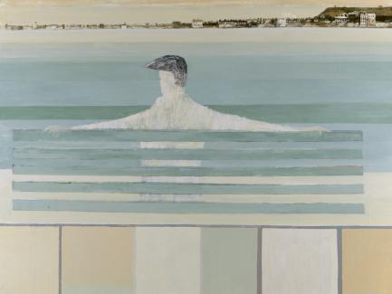 David Holt, Coastal Watcher (detail), 1963, oil on panel, Yale Center for British Art, Gift of the Libra Foundation, from the family of Nicholas and Susan Pritzker