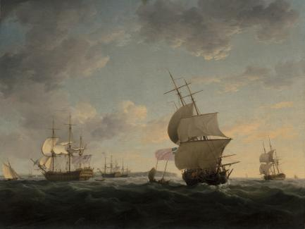 Charles Brooking, Shipping in the English Channel (detail), ca. 1755, oil on canvas, Yale Center for British Art, Paul Mellon Collection