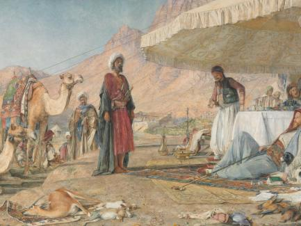 John Frederick Lewis, A Frank Encampment in the Desert of Mount Sinai. 1842—The Convent of St. Catherine in the Distance, 1856, watercolor, gouache, and graphite on paper, mounted on board, Yale Center for British Art, Paul Mellon Collection
