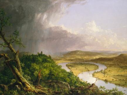 Thomas Cole, View from Mount Holyoke, Northampton, Massachusetts, after a Thunderstorm—The Oxbow (detail), 1836, oil on canvas, Metropolitan Museum of Art, Gift of Mrs. Russell Sage, 1908