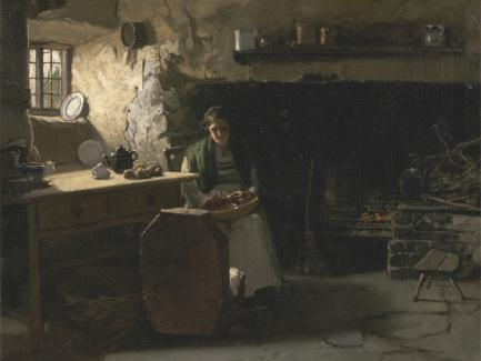 Frank Holl, Peeling Potatoes (detail), ca. 1880, oil on canvas, Yale Center for British Art, Paul Mellon Fund