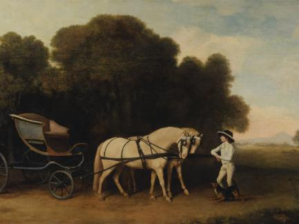 George Stubbs, Phaeton with a Pair of Cream Ponies and a Stable-Lad (detail), 1780–84, beeswax and oil on panel, Yale Center for British Art, Paul Mellon Collection