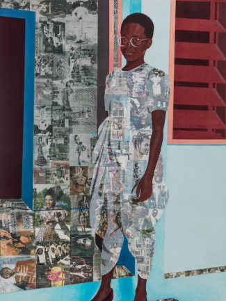 Njideka Akunyili Crosby, The Beautyful Ones, Series #1c (detail), 2014, acrylic, colored pencil, and transfers on paper, © Njideka Akunyili Crosby