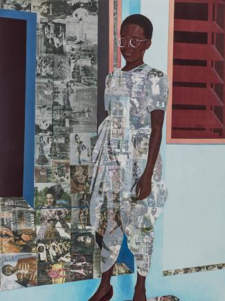 "Njideka Akunyili Crosby, ""The Beautyful Ones"" Series #1c (detail), 2014, acrylic, colored pencil, and transfers on paper, © Njideka Akunyili Crosby, courtesy the artist, Victoria Miro, and David Zwirner"