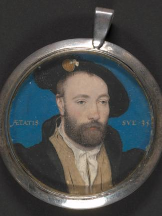 Attributed to Hans Holbein the Younger, Portrait of a man, probably Sir George Carew (ca.1504–1545), ca. 1540, gouache and gold on thin card, Yale Center for British Art, Paul Mellon Collection
