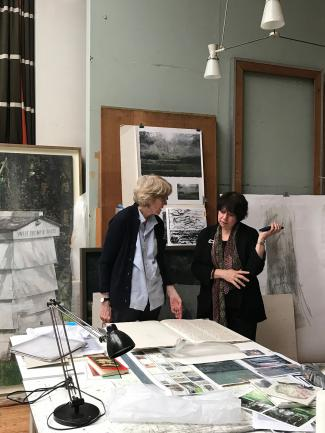 Eileen Hogan (left) discussing her work with Elisabeth Fairman (right) in the artist's studio, London, photo by Sarah Fairman Davidowitz